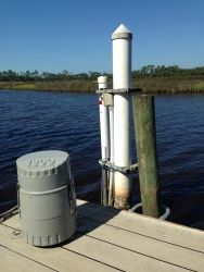 An ISCO 24-hour automated water sampler deployed at the Pellicer Creek water quality site
