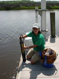 SWMP Data Specialist, Katie Petrinec, performing a data sonde swap at the Pellicer Creek site
