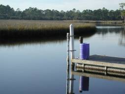 The GTM NERR Pellicer Creek water quality site with an ISCO 24-hr automated water sampler deployed for nutrient analysis