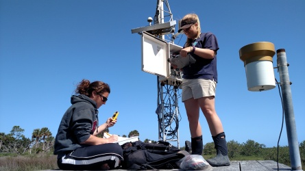 SWMP Manager, Shannon Dunnigan, and previous SWMP Technician, Erin Rowley, downloading data from the GTM NERR weather station