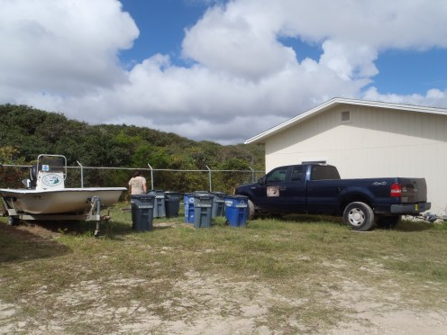 Securing the bins used in our Oyster Shell Recycling Program
