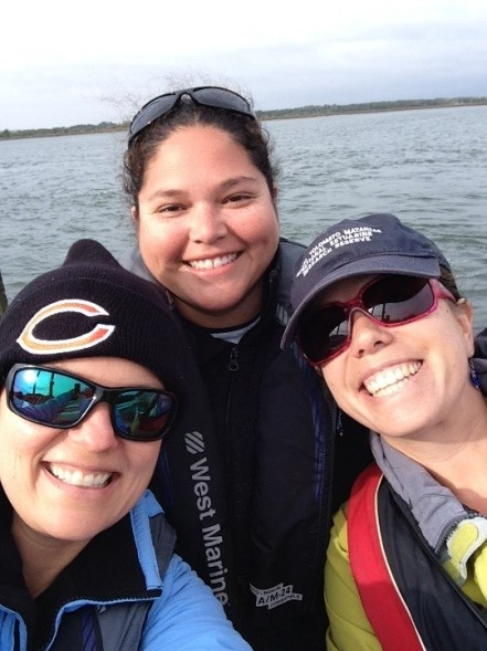 Out on the boat with Nikki Dix and Assistant Manager of the GTM Reserve, Lia Sansom