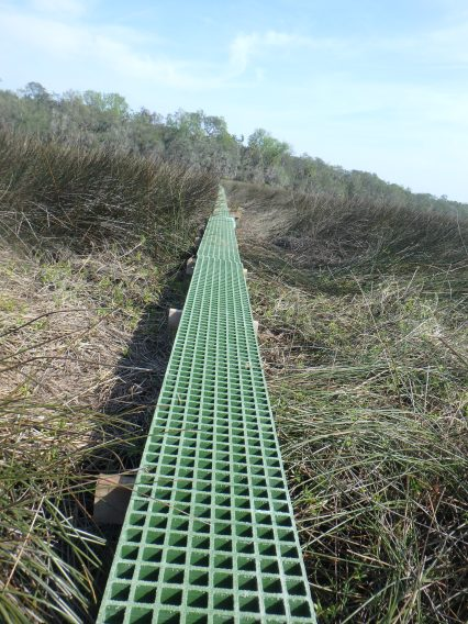 Fiberglass grates are used in these platforms for better light penetration beneath the boards and so they will blend into the marsh better.