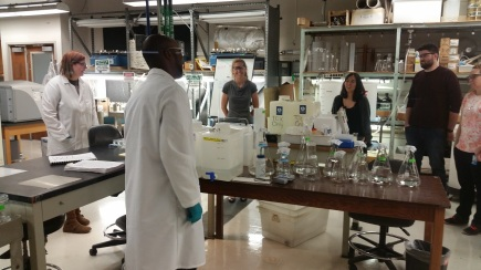 Technicians in the Biology section of the DEP Central Laboratory explained how toxicity samples were analyzed.