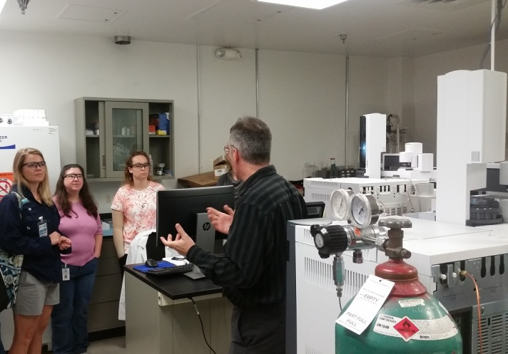 Touring the Chemical Agent Laboratory in the Chemistry section of the DEP Central Laboratory.